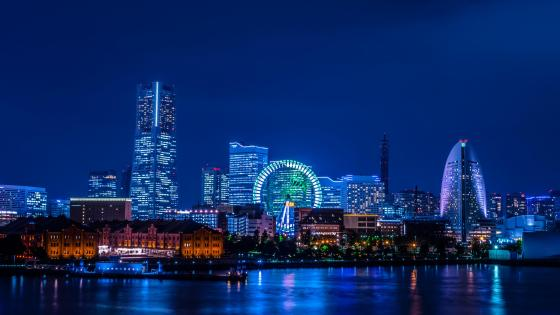 Cosmo Clock 21 & the Yokohama Skyline wallpaper