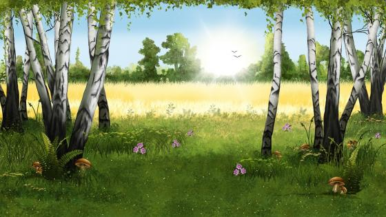 Spring landscape fantasy art wallpaper