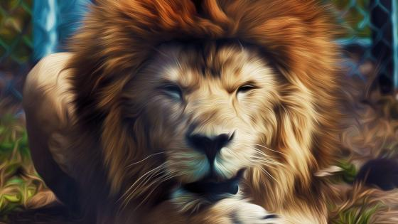 Lion painting effect wallpaper