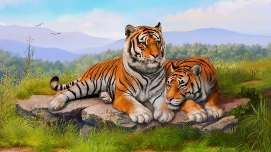 Tigers painting art wallpaper