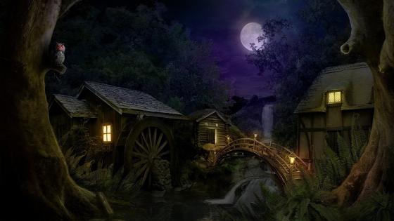 Watermill in the full moon wallpaper