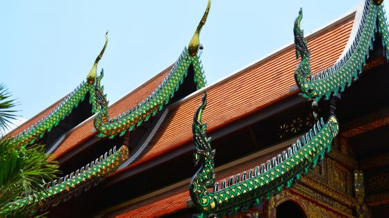 Green dragon detailed temple roof in Thailand wallpaper