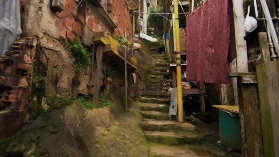 Brazilian favela alley in Rio De Janeiro wallpaper