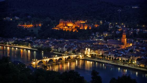 Heidelberg at night (Germany) wallpaper