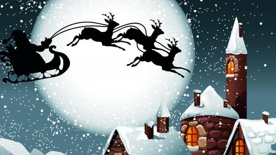 Santa's sleight silhouette in the full moon wallpaper