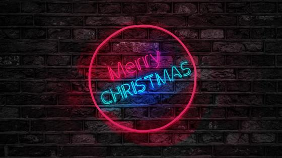 Merry Christmas neon sign wallpaper