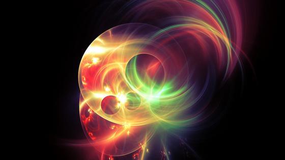 Neon light fractal art wallpaper