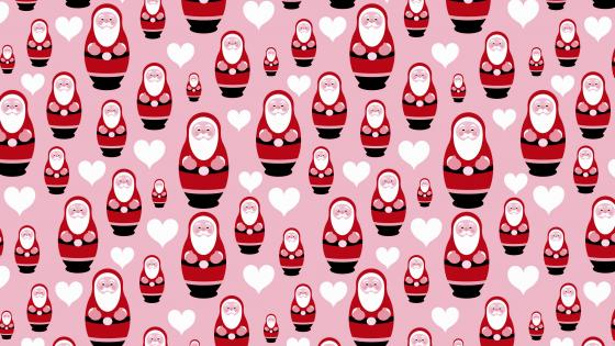 Pink and red Santa Claus pattern wallpaper