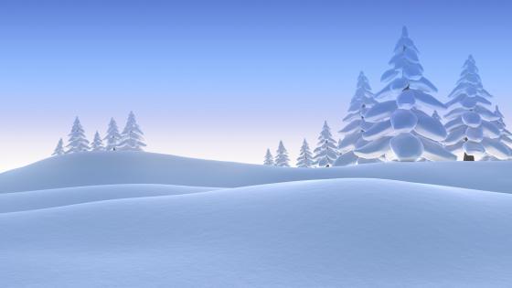 Winter landscape illustration wallpaper
