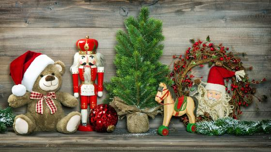 Christmas decoration in front of wood planks wallpaper