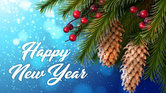 Happy New Year christmas berries and pine cones wallpaper