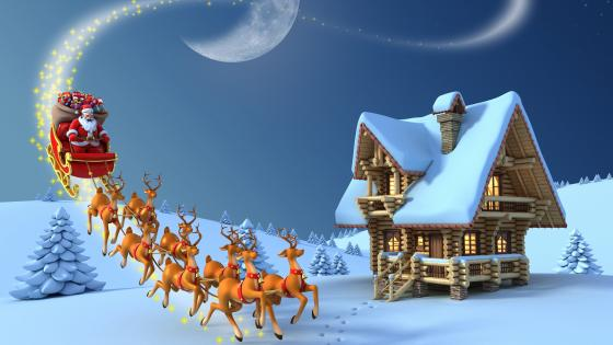 Santa's sleigh wallpaper