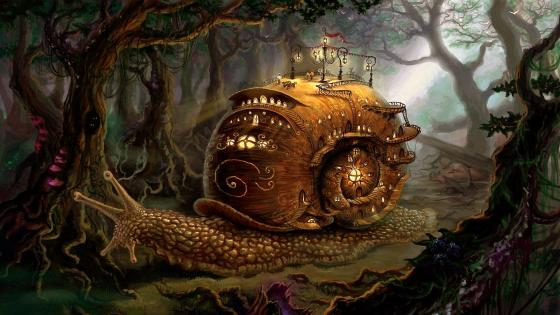 Fantasy snail shell home wallpaper