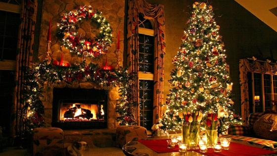 Christmas decor in living room wallpaper
