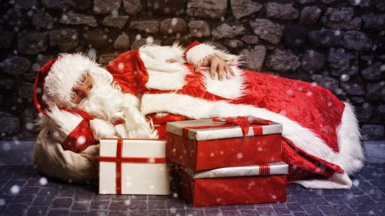 Sleeping Santa Claus wallpaper