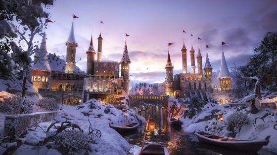 Fantasy winter castle wallpaper