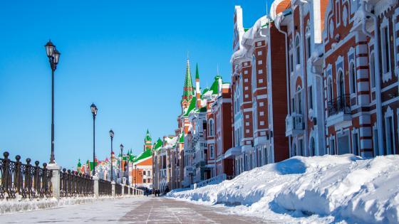 Yoshkar-Ola in the winter season (Russia) wallpaper