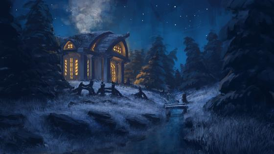 Winter night fantasy art wallpaper