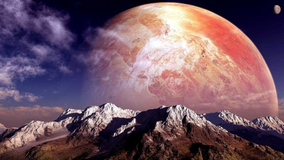 Planet behind the mountains wallpaper