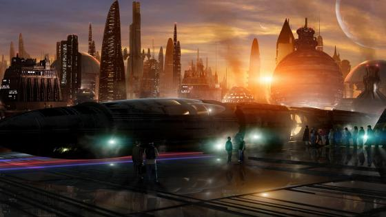 Futuristic city scifi art wallpaper