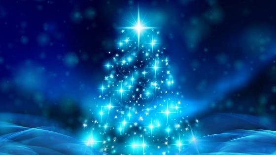 Glowing blue Christmas tree wallpaper