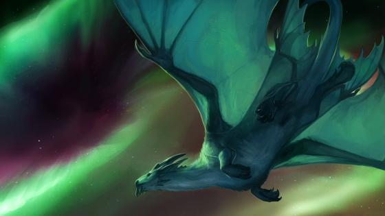 Flying dragon under the green polar lights wallpaper