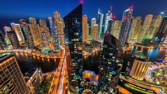 Dubai skyscrapers at night wallpaper