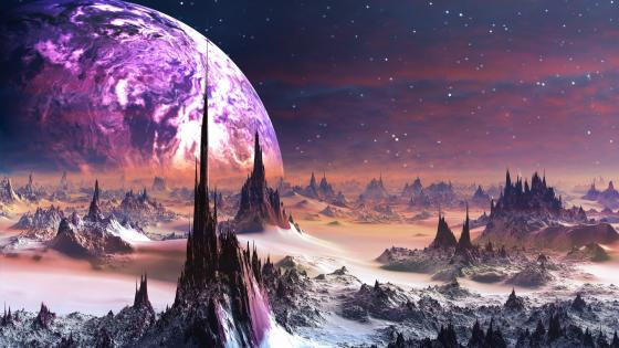 Spiky scifi planet landscape wallpaper