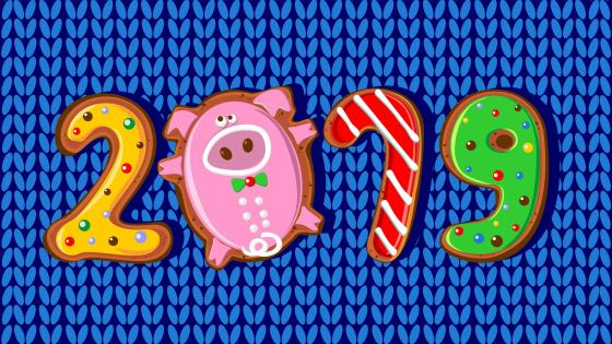 2019 New Year Gingerbreads wallpaper