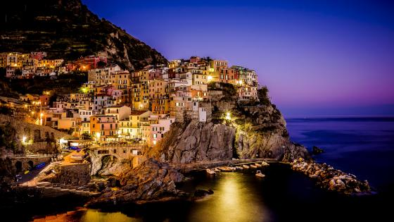 Manarola from the sea at dusk (Cinque Terre, Italy) wallpaper