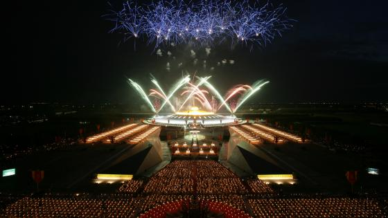 Fireworks at Wat Phra Dhammakaya Temple wallpaper