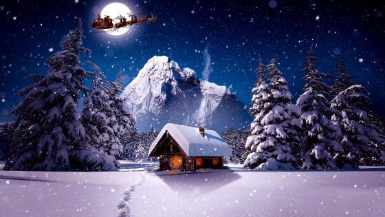 Santa's sleight on the night sky wallpaper