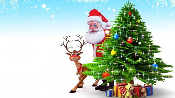 Santa and his deer wallpaper