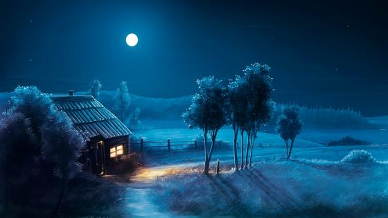 Blue night fantasy landscape wallpaper