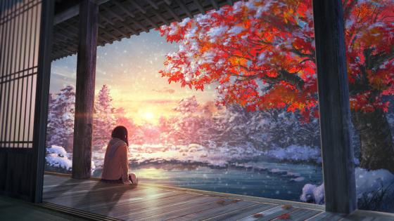 Early snow - Anime art wallpaper