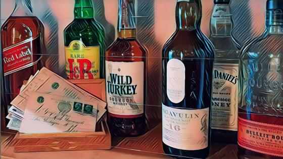 Whisky bourbon and vintage cards artistic drawing wallpaper