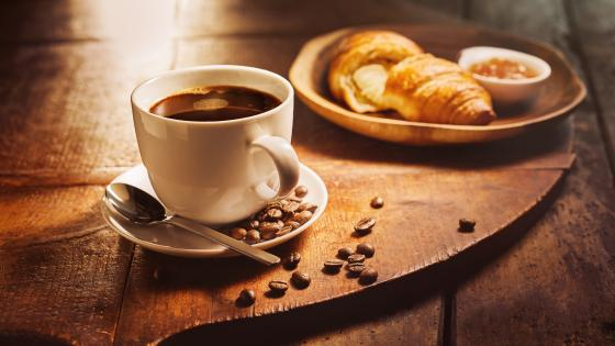 Coffee and croissant wallpaper