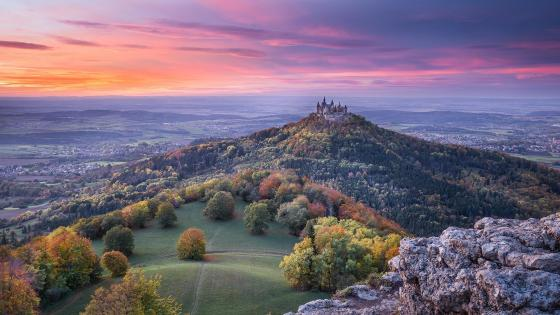 Hohenzollern Castle in the distance wallpaper