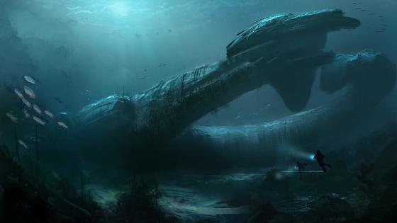 Alien spaceship under the water wallpaper