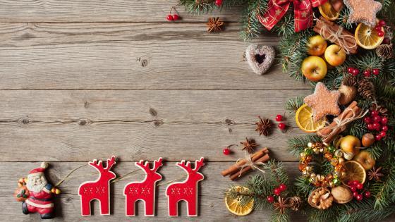 Christmas decoration on wood planks wallpaper