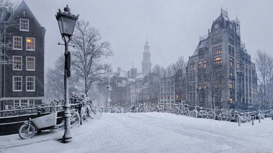 Snowy Amsterdam wallpaper