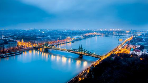 Liberty Bridge from Gellert Hill (Budapest) wallpaper