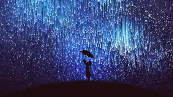 Girl silhouette under the falling stars wallpaper