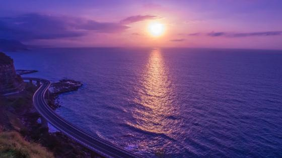 Purplish seascape wallpaper