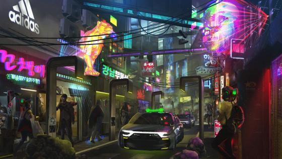 Futuristic neon city wallpaper