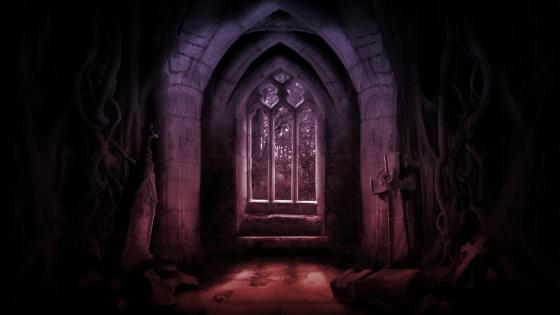 Scary gothic crypt wallpaper