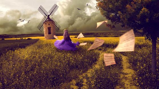 Girl at the windmill wallpaper