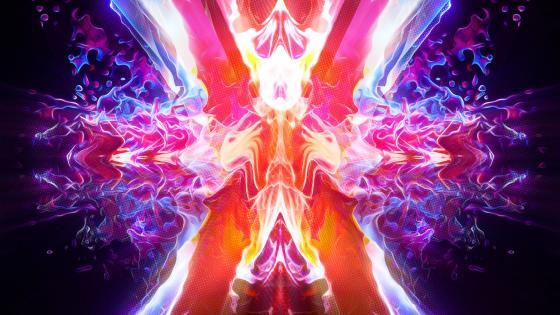 Neon energy waves wallpaper
