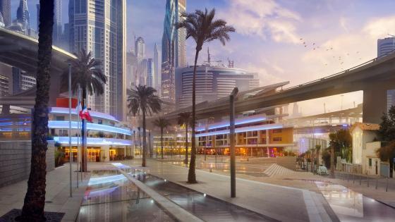 Futuristic city with palms wallpaper