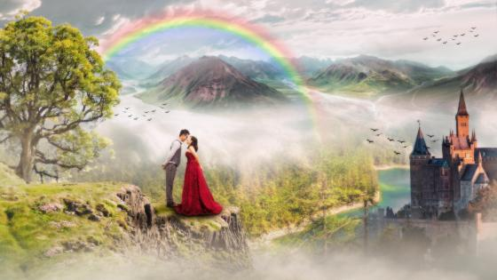 Asian couple under the rainbow wallpaper